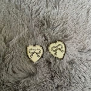 NEW Heart Bow Yellow Vintage Inspired Earrings